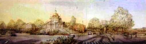 Проект (№ 002 ) храма Живоначальной Троицы на Набережной Бранли в Париже. Авторы М.Филиппов и В.Митрофанов